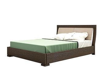 Двуспальная кровать As28.25. Декор венге, изголовье выбеленный дуб.