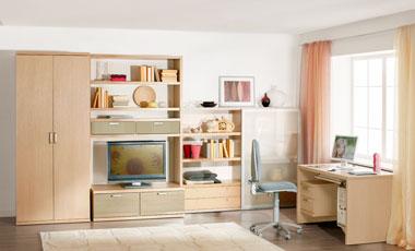 Горки для гостиной и молодежные стенки с компьютерным столом