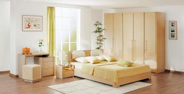 Современная мебель для спальни в цвете дуб беленый