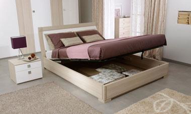 Двуспальная кровать с подъёмным механизмом. Декор основания ясень, изголовье белый глянец.