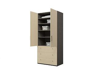 Двустворчатый шкаф с ламинированными фасадами и ящиками KGP03YA